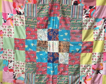 "Vintage 70s quilt top with classic 6"" square block design"