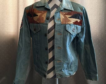 Jean Jacket With Suede and Leather Patches