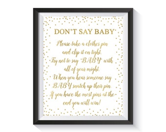 Don't say Baby, Clothespin Game, Baby Shower Sign, Baby Shower Games, Gold Confetti Baby Shower Décor, Girl, Boy Baby Shower Activity, Fun