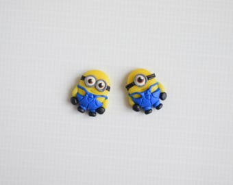Fimo handmade earrings inspired by Minions Despicable me