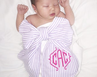 Monogrammed Newborn Baby Girl Swaddle wrap BOW photo prop Purple with Pink
