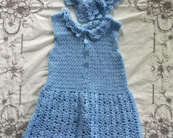 Vintage Crochet Dress and Bonnet
