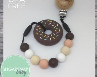 Chocolate donut - baby teether - toddlers - chew toys - best teethers - newborn gift - silicone teether - baby shower gift - gift for her