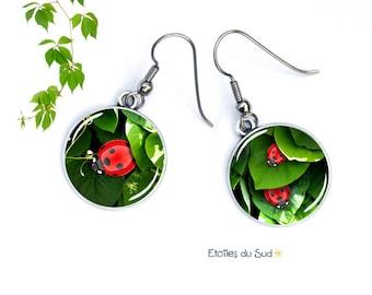 Dangle earrings, surgical steel silver metal leaf, resin ref.259 cabochon