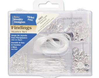 Jewelry Findings Starter Kit with Caddy, Nickle Free Bright Silver, 178 Pieces