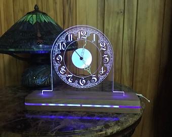 LED lit clock on acrylic