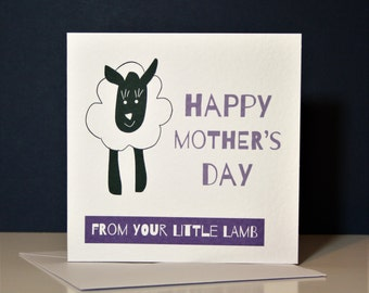 Little Lamb Mother's Day Card, mother's day card, sheep card, lamb card, funny mother's day card,