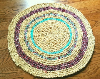 Traditional Style Handmade Round Rag Rug 36""