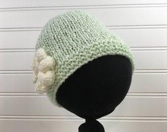 Mint Green Knit Baby Hat