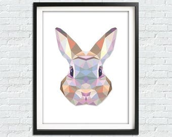 Geometric Bunny Print, Geometric Rabbit Print, Geometric Animals, Rabbit Wall Art, Bunny Rabbit Art Print, Bunny Wall Art, Rabbit Art Print