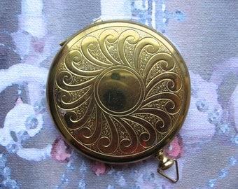 Vintage Brass Round Compact