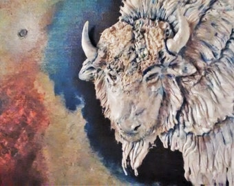 Sculpted Clay White Buffalo Painting
