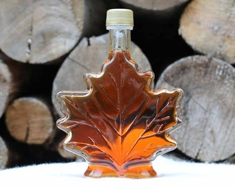1 - 250ml Glass Maple Syrup Leaf Pure Amber Rich, Made in Vermont USA, Free Shipping