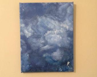 "Swirly Sky - Photo-on-canvas, printed/stretched/wrapped w/acrylic embellishments, 11""x14"", 5/8"" bars. Photo location: Marietta, GA."