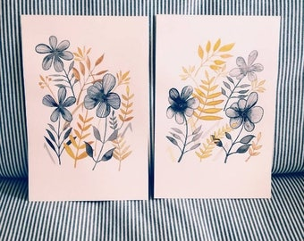 WATERCOLOR painting set of 2 Original Watercolor Paintings // watercolor flowers // watercolour floral art / yellow & gray floral home decor