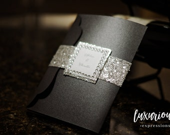 Black Diamond Wedding Invitation | Luxury Pocketfold Wedding Invite | Wedding Invite | Luxury Wedding Invitation | Custom Wedding Invite
