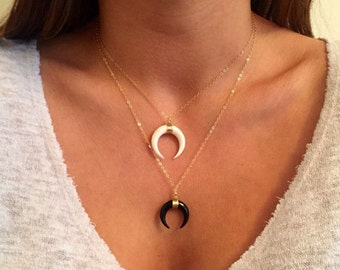 Double Horn Necklace, Gold Crescent Moon Necklace, black white tusk Necklace, Bone Horn Necklace Layering Boho Necklace, Upside Down Moon