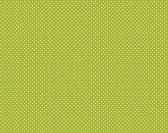 Green Swiss Dot Fabric - Fly a Kite Green Dot Fabric - Small Green and White Polka Dot Cotton