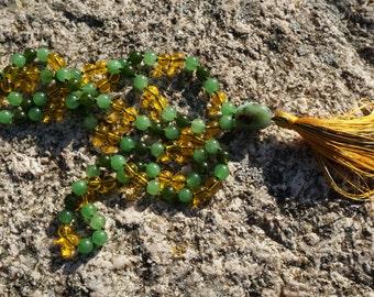 Jade,Yellow Topaz,Australian Jade Guru, 108+1 bead Mala,handmade silk tassel,silk