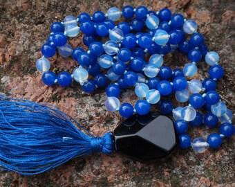 Sri Lanka Sapphire, Moonstone,Onyx Guru bead,108+ 1 bead Mala