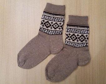 Hand knit socks, men, size 42-44, wool, acrylic, Reinforced heel, Greek, beige, white, brown