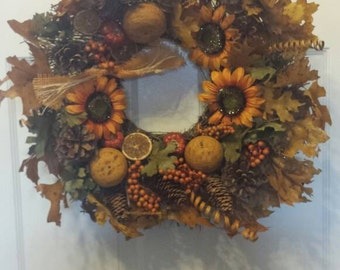 Sunflower wreath/ front door wreath / holiday wreath / fall wreath / door wreath