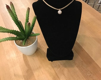 Tan suede choker with pendant and tan velvet stacking chokers