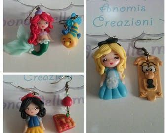 Disney Princess Earrings / Orecchini Principesse Disney / little mermaid / snow white / alice