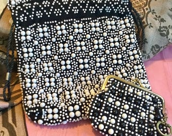 Vintage beaded black and white Handbag with matching coin purse