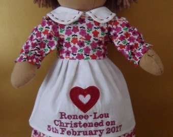 Personalised Rag Doll Christening Baptism holy Communion Dedication white dress
