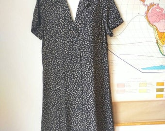 90's dress Eddie Bauer black white tiny floral rayon shirt dress Large oversized loose