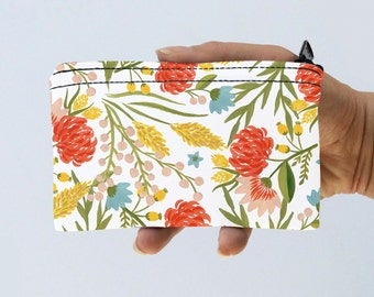 Floral Coin Purse Wild Flowers Pouch - Floral Bag - Floral Nature Zipper Purse - Gadget Case Padded