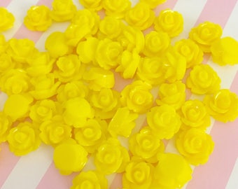 Bright Butter Yellow Rose Cab | Resin Rose Cabochon | Flower Cabochon | Resin Flower | Rosebuds | 9MM Resin Rose | Flatback Rose | 24 Pieces