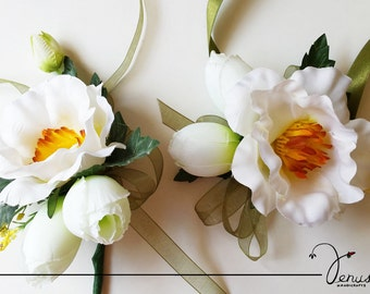 White floral corsage and boutonniere
