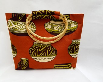 African print handbag, jug print bag, tribal print handbag, exotic tote bag, bamboo handles, exotic African bag, beach tote, unique handbag