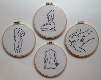 Female Figure Embroidery Hoops <3