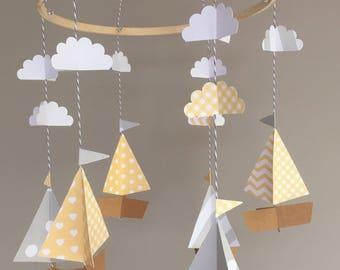Nautical mobile, sailboat mobile, boat mobile, yellow and grey nursery, baby crib mobile, cloud mobile, yellow and gray baby shower