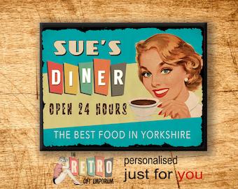 50s Retro Diner Sign, custom wall sign, Metal Wall Sign, Retro Style, Kitchen Sign, 1950s diner, Retro Kitchen Decor