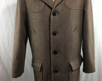 Pendleton Vintage Mens Herringbone/Tweed PURE VIRGIN WOOL Overcoat size 40R
