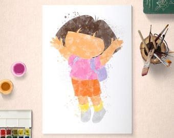 Dora the Explorer, Poster, Watercolour Art, Printable Instant Download