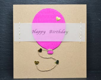 Happy Birthday Pink Balloon on Brown Card