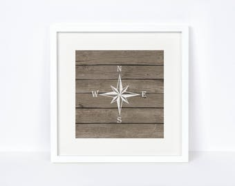 Bedroom Nautical Wall Art - Digital Print - Unique Gifts for Him - Nautical Compass - Weathered Wood Decor - Reclaimed Wood Nautical Print