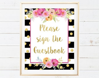 Gold and Pink Birthday Decor - Please Sign the Guestbook Party Sign - Pink and Gold Floral Printable - Watercolor Baby Shower Decorations