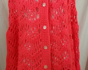 One size fits all Bright Pink Crochet Shawl Poncho