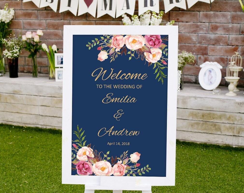 wedding welcome sign template printable wedding reception. Black Bedroom Furniture Sets. Home Design Ideas