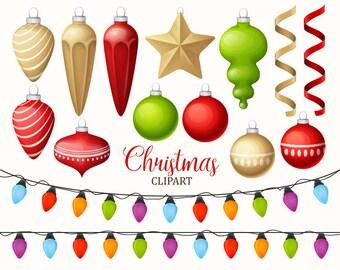 Christmas clipart. Christmas decoration clipart. Christmas lights. Christmas ornament clip art collection. Vector art.