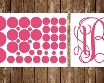 Monogram/Polka Dot Cake Carrier Decals