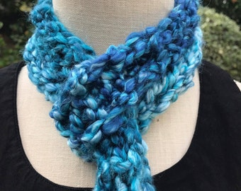 Blue thin Knit Scarf