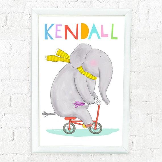 Whimsical personalized elephant art print for child, elephant on bike, custom art for kids, baby shower gift, cute elephant print, baby gift