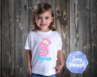 Princess Birthday shirt, kids birthday, girls birthday, crown shirt